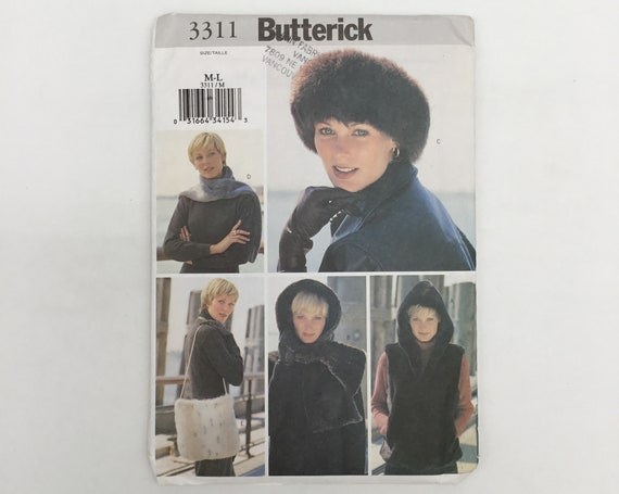 Butterick 3311 (2001) Vest, Headwrap, Headband, Scarf, and Bag - Size M-L  - Uncut Sewing Pattern