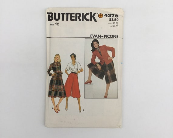 Butterick 4376 Jacket, Blouse, and Culottes - Size 12 Bust 34 - Vintage Uncut Sewing Pattern