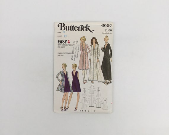 Butterick 6007 Dress and Coat with Length Variations - Size 12 Bust 34 - Vintage Uncut Sewing Pattern