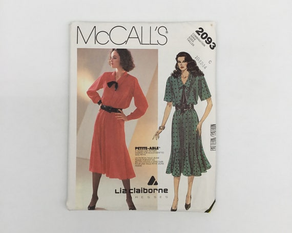 McCall's 2093 (1985) Liz Claiborne Dress with Sleeve Variations - Size 10-14 Bust 32.5-36 - Vintage Uncut Sewing Pattern