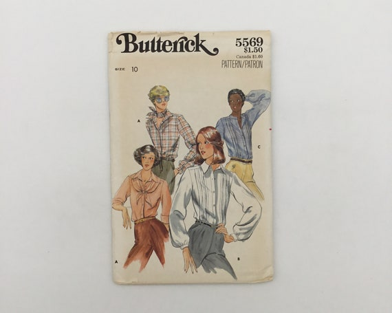 Butterick 5569 Blouse with Neckline and Sleeve Variations - Size 10 Bust 32.5 - Vintage Uncut Sewing Pattern