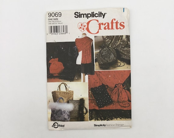 Simplicity 9069 (1999) Evening Bags and Shawls - Vintage Uncut Sewing Pattern
