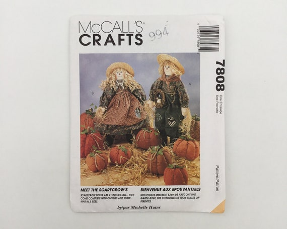 McCall's 7808 (1995) Scarecrows and Pumpkins - Vintage Uncut Sewing Pattern