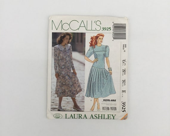 McCall's 3925 (1988) Laura Ashley Dress with Sleeve Variations - Size 12 Bust 34 - Vintage Uncut Sewing Pattern