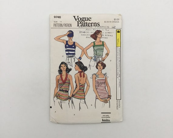 Vogue 9746 Top with Neckline Variations - Size 14 Bust 36 - Vintage Uncut Sewing Pattern