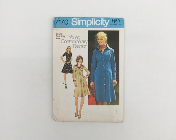 Simplicity 7170 (1975) Dress with Sleeve Variations - Size 10 Bust 32.5 - Vintage Uncut Sewing Pattern