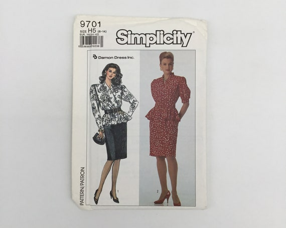 Simplicity 9701 (1990) Dress with Sleeve Variations - Size 6-14 Bust 30.5-36 - Vintage Uncut Sewing Pattern