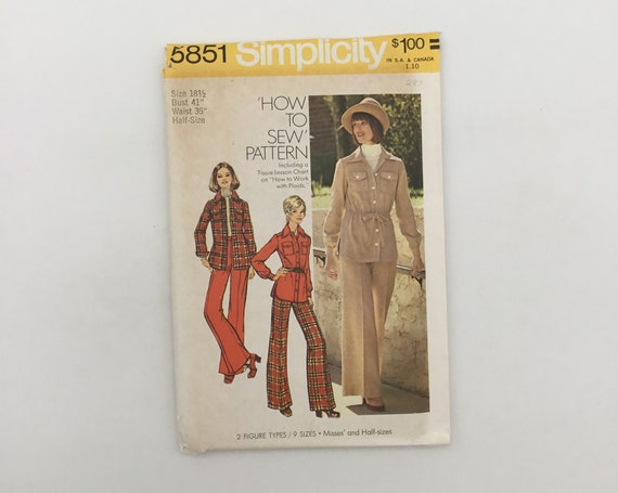 Simplicity 5851 (1973) Shirt-Jacket and Pants - Size 18.5 Bust 41 - Vintage Uncut Sewing Pattern