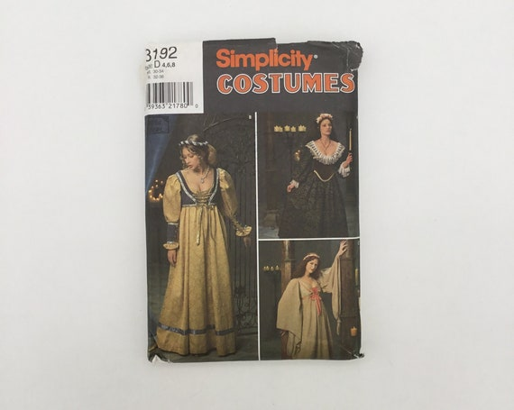 Simplicity 8192 (1998) Period Costumes - Size 4-8 Bust 29.5-31.5 - Vintage Uncut Sewing Pattern
