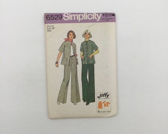 Simplicity 6529 (1974) Jacket and Pants - Multiple Sizes Available - Vintage Uncut Sewing Pattern