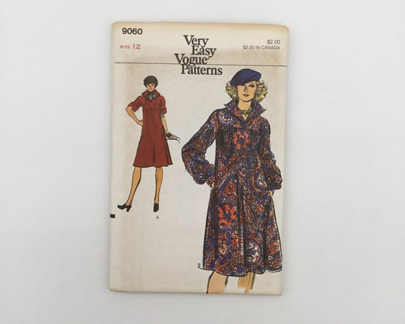 Vogue 9060 Dress with Sleeve Variations - Size 12 Bust 34 - Vintage Uncut Sewing Pattern