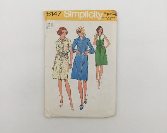 Simplicity 6147 (1973) Dress with Sleeve Variations - Size 18 Bust 40 - Vintage Uncut Sewing Pattern