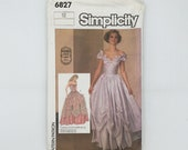 Simplicity 6827 (1985) Gunne Sax Special Occasion Gown with Neckline Variations - Size 12 Bust 34 - Vintage Uncut Sewing Pattern
