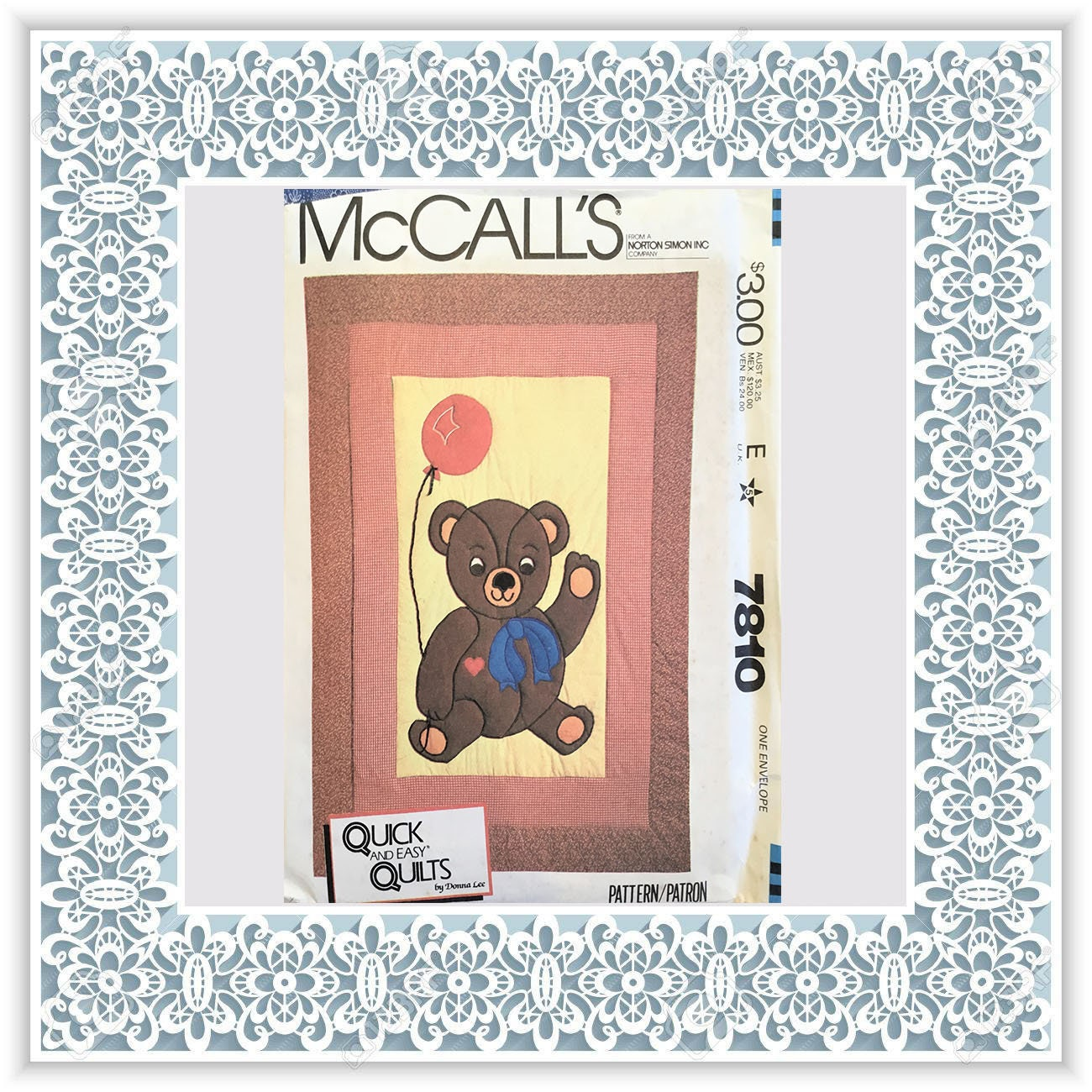 Mccalls 7810 1981 Teddy Bear Quilt Vintage Uncut Sewing Pattern