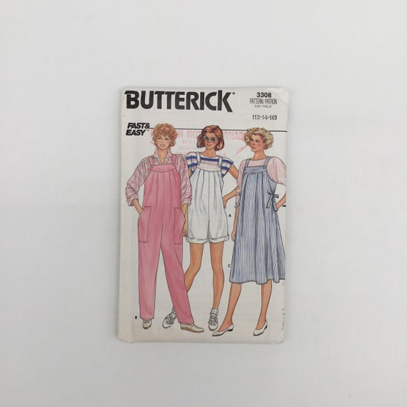 Butterick 3308 (1985) Maternity Jumpsuit and Jumper - Size 12-16 Bust 34-38 - Vintage Uncut Sewing Pattern