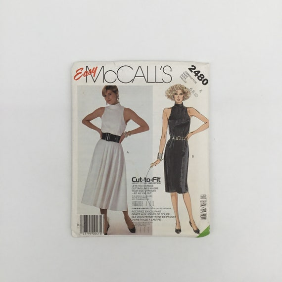 McCall's 2480 (1986) Dress with Skirt Variations - Size 6-10 Bust 30.5-32.5 - Vintage Uncut Sewing Pattern