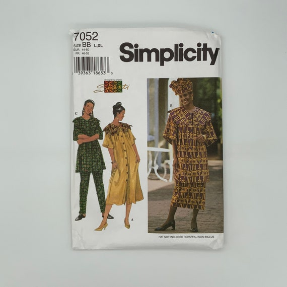 Simplicity 7052 (1996) Shanti Dress, Top, Skirt, and Pants - Size 18-24 Bust 40-46 - Vintage Uncut Sewing Pattern