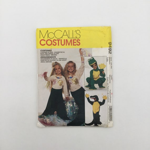 McCall's 9492 (1998) Adult Alligator, Frog, and Mermaid Costumes - Bust 36-38 - Vintage Uncut Sewing Pattern