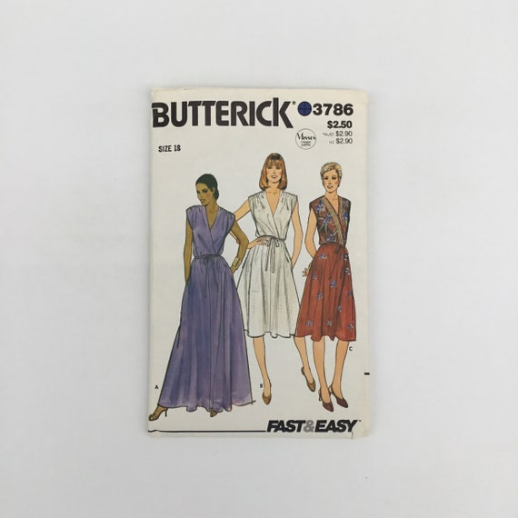 Butterick 3786 Dress with Length Variations - Size 18 Bust 40 - Vintage Uncut Sewing Pattern