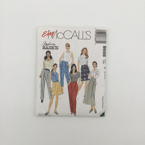 McCall's 8688 (1997) Pants, Skirt, and Shorts - Size 8-12 - Vintage Uncut Sewing Pattern
