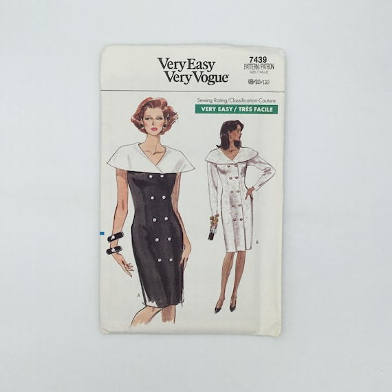 Vogue 7439 (1989) Dress with Sleeve Variations - Size 8-12 Bust 31.5-34 - Vintage Uncut Sewing Pattern