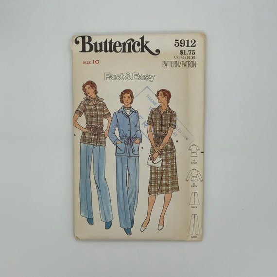 Butterick 5912 (1981) Jacket, Skirt, and Pants - Size 10 Bust 32.5 - Vintage Uncut Sewing Pattern