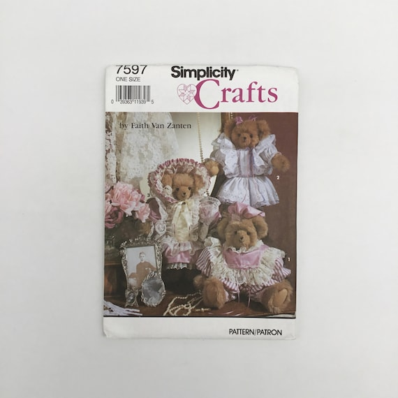 Simplicity 7597 (1991) Faith Van Zanten Bear with Three Outfits - Vintage Uncut Craft Pattern