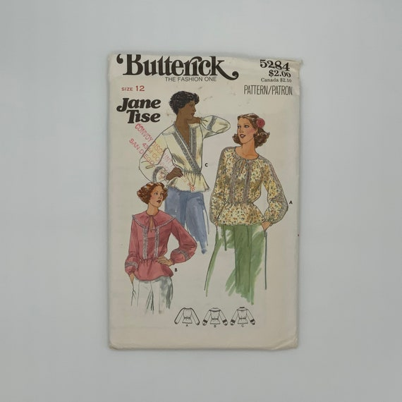 Butterick 5284 Jane Tise Blouse with Neckline Variations - Size 12 Bust 34 - Vintage Uncut Sewing Pattern