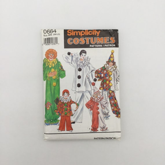Simplicity 0664 (1990) Clown Costumes - All Sizes in One - Vintage Uncut Sewing Pattern