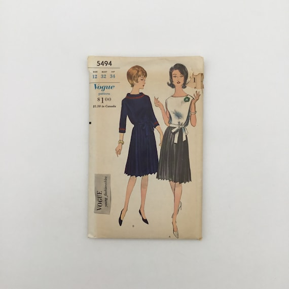 Vogue 5494 Two-Piece Dress - Size 12 Bust 32 - Vintage Uncut Sewing Pattern