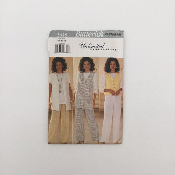 Butterick 3318 (1994) Vest, Top, and Pants - Size 6-12 Bust 30.5-34 - Vintage Uncut Sewing Pattern