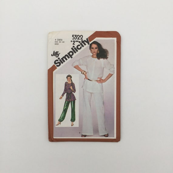 Simplicity 5322 (1981) Tunic and Pants - Size 22-24 Bust 44-46 - Vintage Uncut Sewing Pattern