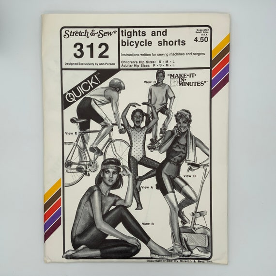 Stretch & Sew 312 (1988) Tights with Optional Stirrups and Bicycle Shorts - Size Adult P-L Kids S-L- Vintage Uncut Sewing Pattern