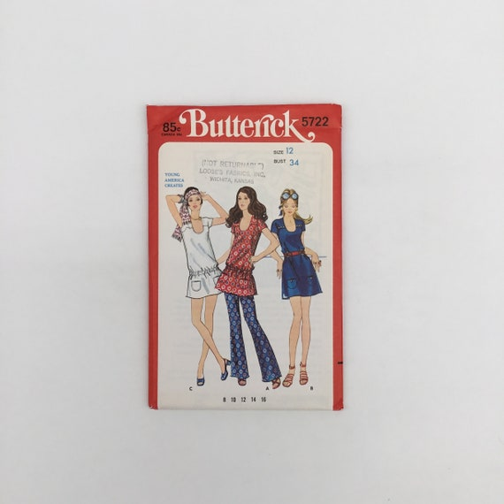 Butterick 5722 Dress, Tunic, and Pants - Multiple Sizes Available - Vintage Uncut Sewing Pattern