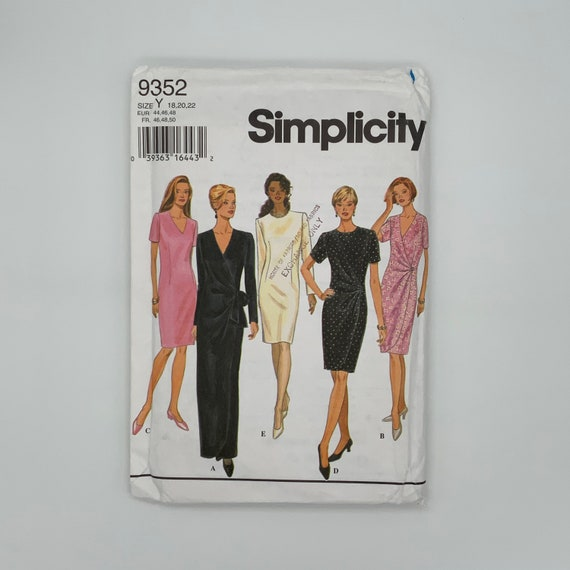 Simplicity 9352 (1996) Dress with Neckline, Sleeve, and Length Variations - Size 18-22 Bust 40-44 - Vintage Uncut Sewing Pattern