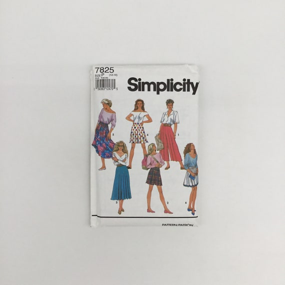 Simplicity 7825 (1992) Culottes and Skirt with Style and Length Variations - Size 12-16 - Vintage Uncut Sewing Pattern