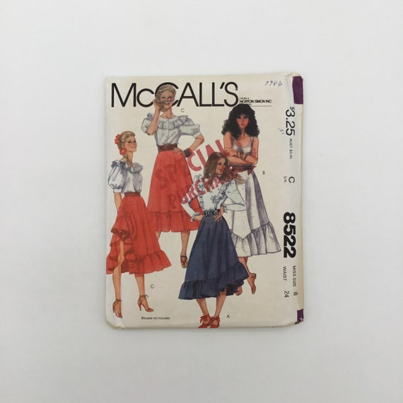 McCall's 8522 (1983) Skirt with Hemline Variations - Multiple Sizes Available - Vintage Uncut Sewing Pattern