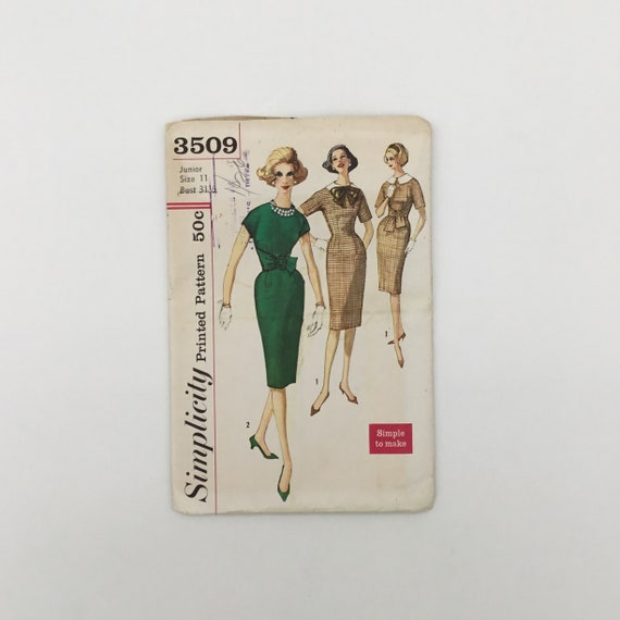 Simplicity 3509 Dress with Detachable Collar - Size 11 Bust 31.5 - Vintage Uncut Sewing Pattern