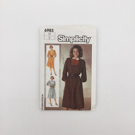 Simplicity 6985 (1985) Dress with Collar and Sleeve Variations - Size 14 Bust 36 - Vintage Uncut Sewing Pattern