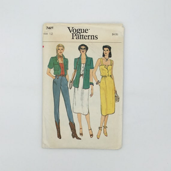 Vogue 7421 Shirt, Top, and Dress - Size 12 Bust 34 - Vintage Uncut Sewing Pattern