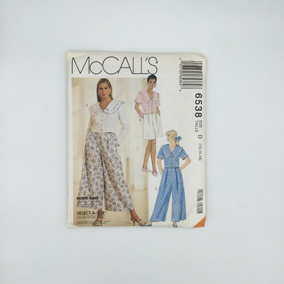 McCall's 6538 (1993) Top, Culottes, and Shorts - Size 12-16 Bust 34-38 - Vintage Uncut Sewing Pattern