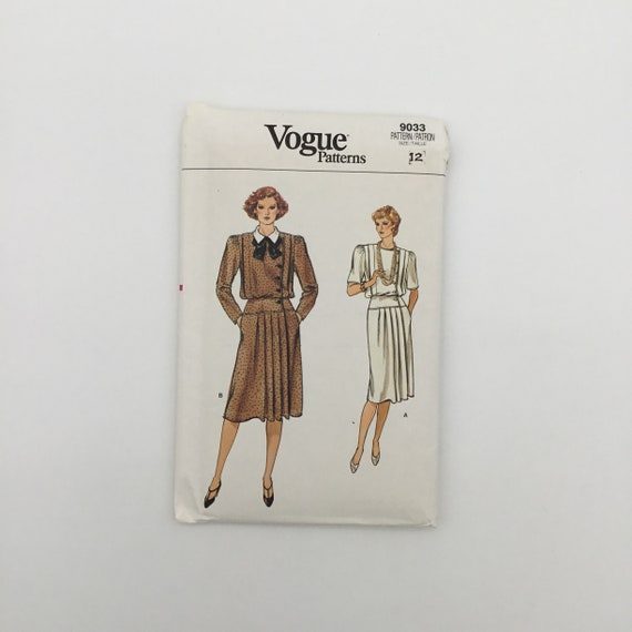 Vogue 9033 Dress with Collar and Sleeve Variations - Size 12 Bust 34 - Vintage Uncut Sewing Pattern