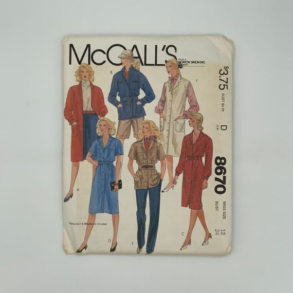 McCall's 8670 (1983) Coat, Shirt-Jacket, Dress, and Jumper - Size 12 Bust 34 - Vintage Uncut Sewing Pattern