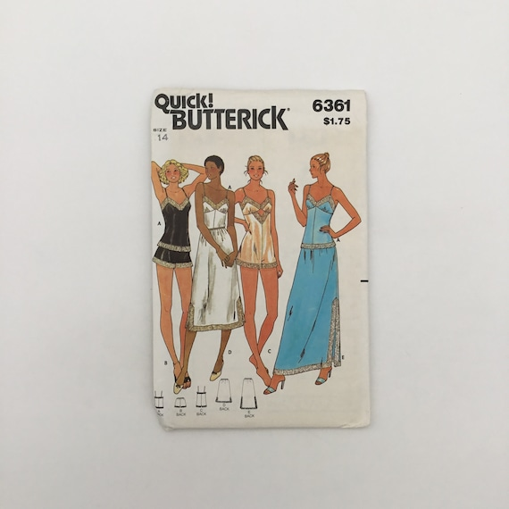 Butterick 6361 Camisole, Shorts, Bodysuit, and Half-Slip - Size 14 Bust 36 - Vintage Uncut Sewing Pattern