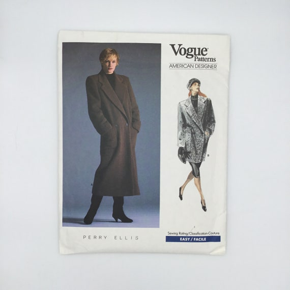 Vogue 1935 (1987) Perry Ellis Coat with Length Variations - Size 14 Bust 36 - Vintage Uncut Sewing Pattern