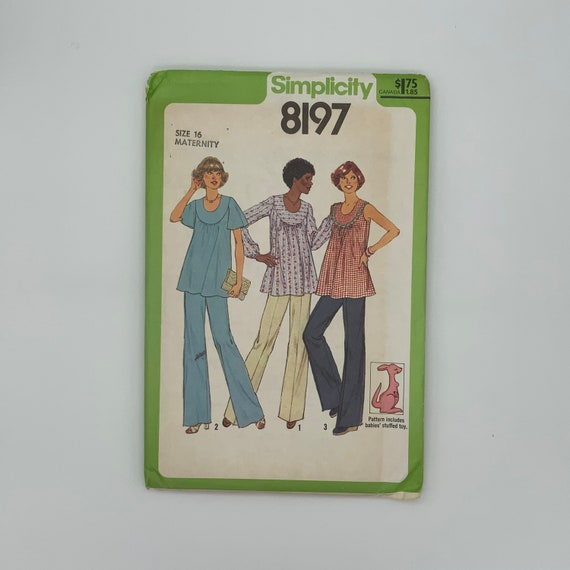 Simplicity 8197 (1977) Maternity Pants and Top with Sleeves Variations - Size 16 Bust 38 - Vintage Uncut Sewing Pattern