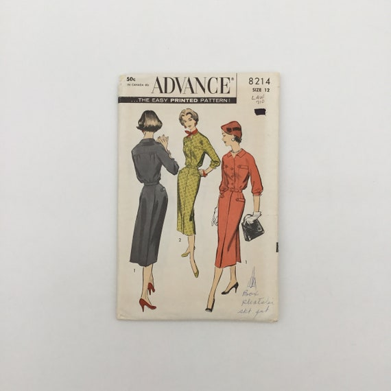 Advance 8214 Dress with Collar Variations - Size 12 Bust 32 - Vintage Uncut Sewing Pattern