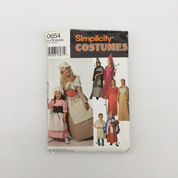 Simplicity 654 (1995) Adult Costumes - Size XS-L - Vintage Uncut Sewing Pattern