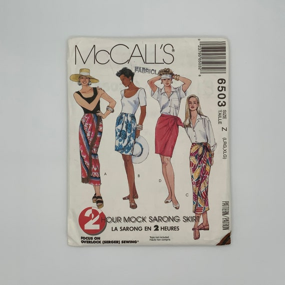 McCall's 6503 (1993) Mock Sarong Skirts with Length Variations - Size 16-22 - Vintage Uncut Sewing Pattern