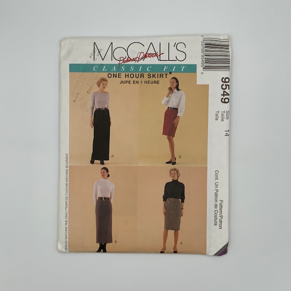 McCall's 9549 (1998) Palmer Pletsch Skirt with Length Variations - Size 14 - Vintage Uncut Sewing Pattern